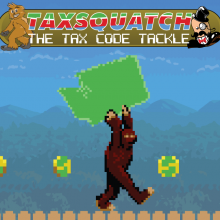 A video game gorilla character holding a large object shaped like Washington State.