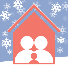 Silhouettes of a family in a house with snow coming down outside